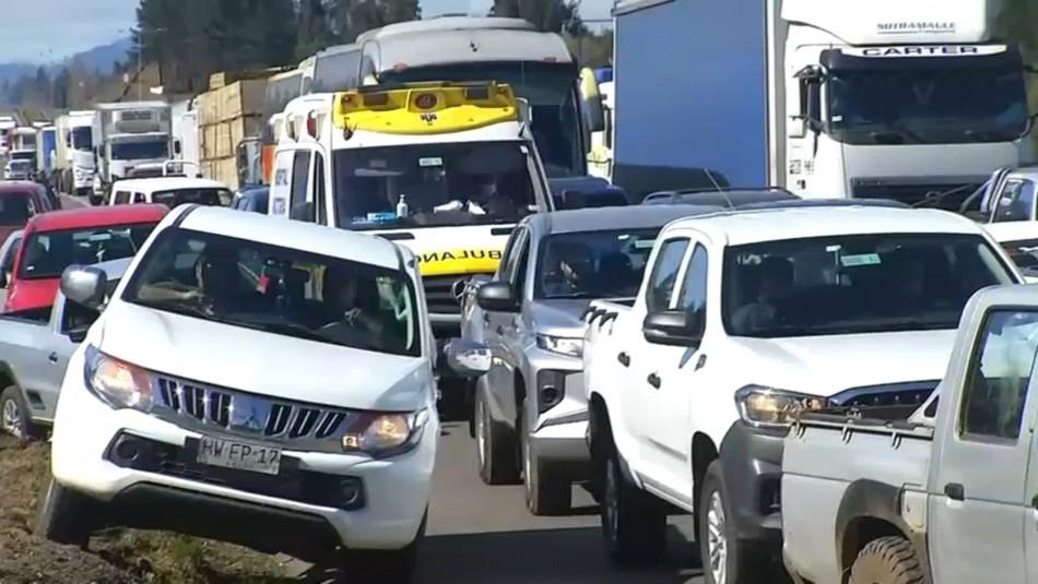 Camioneros detienen el tránsito en Ruta 5 Sur en quinto día de protesta por incremento de violencia en La Araucanía