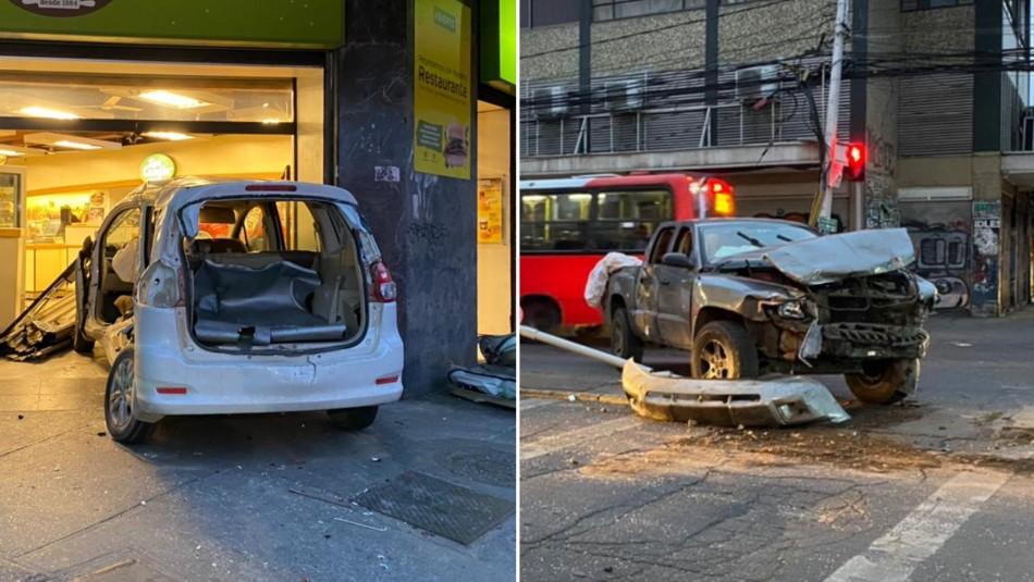 Intento de encerrona terminó con un vehículo impactando a una panadería en Santiago
