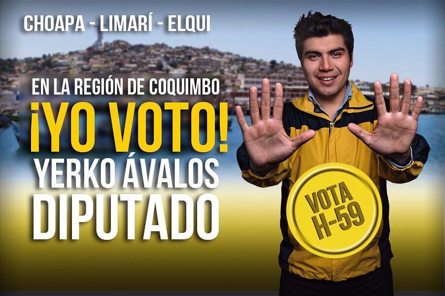 Foto de Yerko Ávalos haciendo campaña para ser diputado