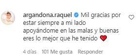 El comentario de Raquel Argandoña